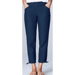 Pure Jill blue linen pull on cropped pants 9467
